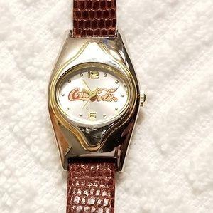 Vintage Coca Cola Two Tone Quartz Watch Leather